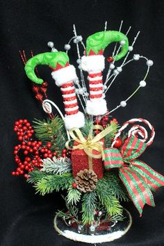 Elf In A Hat Centerpiece Christmas Centerpiece Holiday