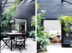 Home Tour A Scandinavian House with IndoorOutdoor Charm is part of Scandinavian home Exterior - This black and white Scandinavian home exudes indoor outdoor charm with a modern conservatory style patio Outdoor Rooms, Outdoor Dining, Outdoor Gardens, Outdoor Furniture Sets, Outdoor Decor, Dining Area, Indoor Outdoor, Outdoor Chairs, Wicker Furniture