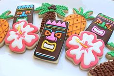 Got these cookies for my tiki party. Guests LOVED them. There was not a cookie left in site. Luau Tiki Cookies by AuntieBeasBakery on Etsy, $36.00