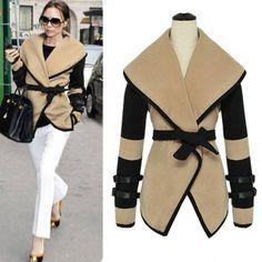 $17.99New Style Character Turndown Collar Long Sleeve Imitation Wool Coat
