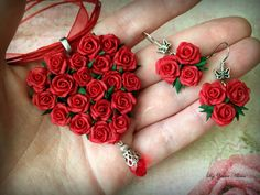Pendant Red heart Red roses Floral pendant Gift for by Amfetrita Polymer Clay Kunst, Polymer Clay Crafts, Polymer Clay Jewelry, Clay Earrings, Rose Jewelry, Heart Jewelry, Polymer Clay Flowers, Gifts For Women, Creations