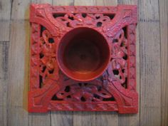 Vintage Christmas Tree Stand ~ Red Cast Iron with Bells, Bows and Holly Design ~ Circa 1950's