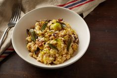 Our delicious Brussels sprout risotto recipe is packed with both slow-roasted buttery sprouts and fresh, raw sprouts, topped with crispy sage leaves. Sage Recipes, Parmesan Recipes, Sprout Recipes, Risotto Recipes, Vegetable Recipes, Baking Recipes, Healthy Rice Recipes, Vegetarian Recipes