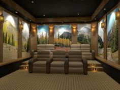 Home Theater With Colorado Panoramic Image Theater Seats, Movie Theater,  Washington Houses, Home