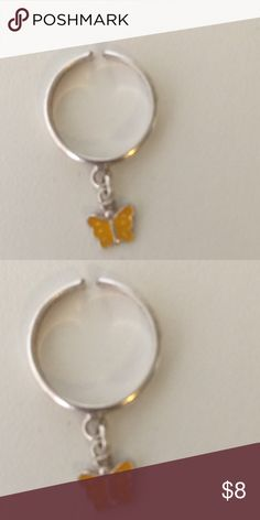 Silver Toe Ring with Butterfly Color yellow Silver Toe Ring with Butterfly Color yellow Jewelry Rings