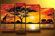 African Painting, Sunset Painting, Living Room Wall Art, Modern Art, Extra Large Wall Art