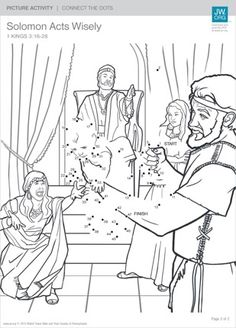 This picture activity is designed to help children learn how King Solomon became so wise. Find what's missing from this picture, connect the dots, and color it in.