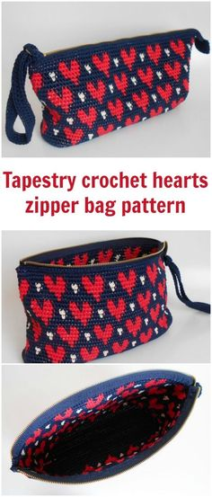 Tapestry crochet pattern for this heart pattern zipper clutch bag.