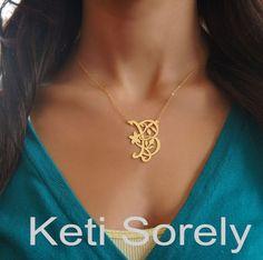 Personalized Monogram Initial Pendant With Floral Design - Small To Large Sizes (Order Any Initials) -