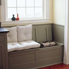 Sturdy piano hinges turn a built-in window seat into a smart entryway storage solution. | Photo: Keller + Keller | thisoldhouse.com
