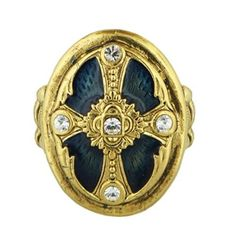 Ornate Blue Enamel Cross Stretch Ring The Vatican Library Collection. $28.00