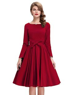 Womens Retro Swing Classic Dress Red Causal Dresses BP192-3 S