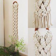 The harmony of the simplicity of continued flat knot and the 5 strand plait creates this timeless beauty. Made from natural cotton 3 strand rope and vintage timber ring Macrame Wall Hanging Patterns, Macrame Plant Hangers, Macrame Patterns, Macrame Rings, Macrame Knots, Macrame Projects, Yarn Projects, Macrame Owl, Macrame Design