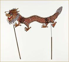 Dragon shadow puppet, East Asia-- we made dragon puppets at the Art Gallery of Windsor, (Ontario) during one of their art drop-in afternoons. We were helped by the amazing puppeteer Matthew Romain.