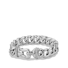 DY - Buckle Bracelet with Diamonds in Silver, 14mm