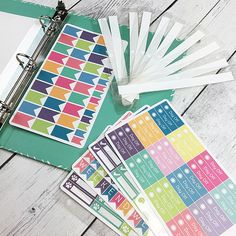 STICKER BINDER TABS - Set of 10 Tabs (Punched for 5x7 three ring binder)