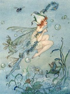 1921 Fairies and Sprites - watercolor by Harold Gaze
