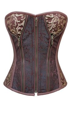 Authentic Steel Boned Brocade Overbust Corset in Sweetheart Pattern Front Zip | eBay