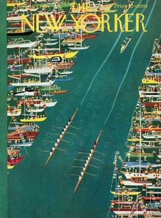 New Yorker Crew rowing regatta birds eye view art poster print SKU2152 in Art, Art from Dealers & Resellers, Other Art from Resellers | eBay