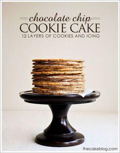 Chocolate Chip Cookie Cake via TheCakeBlog.com