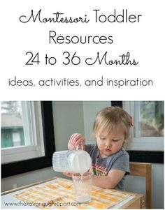 Montessori resources, ideas, inspiration, and activities for older toddlers. These posts are perfect for 2 year old Montessori Toddler 24 to 36 Months Toddler Learning Activities, Infant Activities, Preschool Activities, Kids Learning, Preschool 2 Year Old, Learning Games, Family Activities, Motor Activities, Learning Resources
