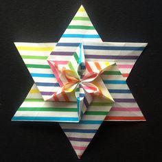 Origami Hexagonal star Origami 101, Origami And Kirigami, Origami Paper Art, Origami Butterfly, Origami Folding, Paper Folding, Oragami, Origami Cards, Origami Flowers Tutorial