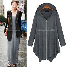 a1a4d71180e 2015 Autumn Warm Plus Sizes Women Ladies Zip Up Thick Fleece Black Grey  Outerwear Hooded Sweatshirt Women Autumn Coat. Women s Clothing
