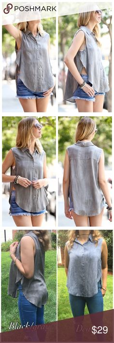 """🆕 Black Gray Sleeveless Button Down Top Oversized fit Sleeveless hi low button down top featuring sexy side openings. Pair it with a Bralette or bright color bra! Perfect to wear with anything. Made of Rayon. MADE IN USA. Available in Denim color also.  Measurement for small 21"""" pit to pit  Front length 24"""" Back length 28"""" Bchic Tops"""
