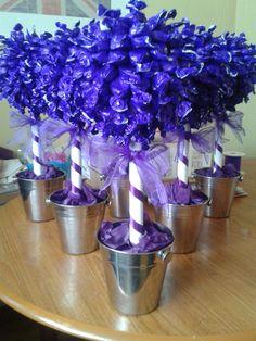 cadbury purple themed wedding trees