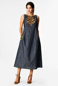 Kurta Designs Women, Blouse Designs, Dress Designs, Women's Fashion Dresses, Casual Dresses, Geometric Fashion, Designer Kurtis, Embroidered Clothes, Chambray Dress