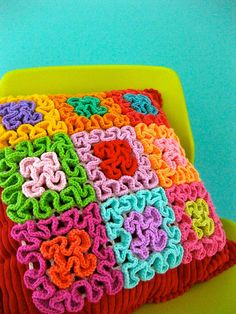 Squiggle Crochet Pillow by Sarah London Textiles on Flickr