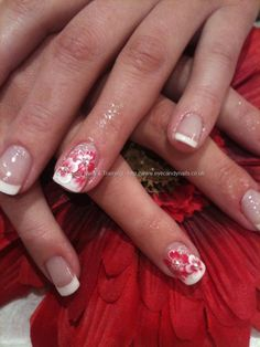 White gel tips with one stroke nail art