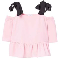 Off-Shoulder Top (432.865 IDR) ❤ liked on Polyvore featuring tops, short sleeve tops, ruffle top, off the shoulder ruffle top, pink ruffle top and flutter-sleeve top