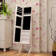 Joyero con espejo mesa armario gabinete con cajones estilo for Espejo joyero casa