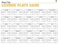 26 car games + activities: Printable license plate game from Today's Mama