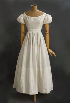 Romantic period cotton dress, 1830s