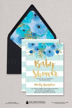 Baby Blue Stripe Baby Shower Invitation Aqua Boho Chic watercolor flowers + stripes and gold glitter script boy baby shower invitation available ONLY at digibuddha.con