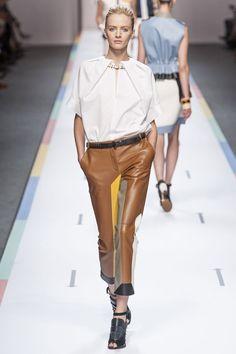 View all the catwalk photos of the Fendi spring / summer 2013 showing at Milan fashion week. Fendi, Karl Lagerfeld, Brown Leather Pants, High Fashion, Fashion Show, Runway Magazine, Paris Mode, Milan Fashion Weeks, Spring Trends