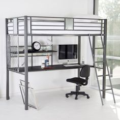 The Nicholas Twin Loft Bed is urban industrial cool straight out of a music video. Friends will die with envy when they see the wire lattice fencing and no-skid metal plate backing panels that hold the twin bed up off the floor making room for a full desk work space underneath. All metal construction for shine and durability. Powder-coated in gun metal color its as tough as it looks and comes with a matching ladder. One-of-a-kind black mesh back