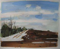 Snow Patch March Original Landscape Painting on Paper by Paintbox, $50.00, paintbox.etsy.com