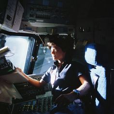 Sally Ride at work on Challenger's flight deck during STS-7. Her mission opened the door for U.S. women to venture into orbit. Thirty years since her pioneering flight, her legacy is represented aboard the International Space Station by NASA astronaut Karen Nyberg. Photo Credit: NASA