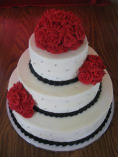 black, white and red wedding cake - Google Search