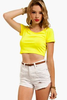 Short Changed Cropped T-Shirt in Neon Yellow