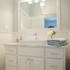 Exceptional Beadboard Bathroom With White Vanity And Trough Sink Part 32