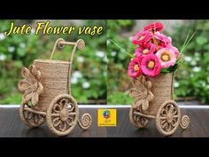 How to Make Jute Flower Vase | Jute Art and Craft | Jute Craft Decoration Design - YouTube