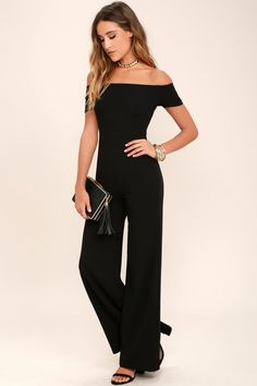 Any outfit involving the Alleyoop Black Off-the-Shoulder Jumpsuit is sure to be a stylish slam dunk! Stretch knit off-the-shoulder jumpsuit with wide-leg pants.