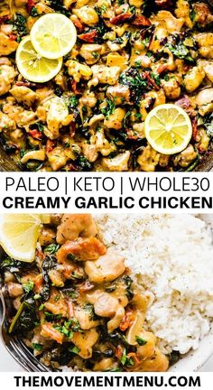 One Pan Creamy Garlic Chicken (Paleo, Keto and T.- One Pan Creamy Garlic Chicken (Paleo, Keto and This one pan creamy garlic chicken recipe is easy to make and is finished in less than 30 minutes. It's a healthy weeknigh Paleo Pizza, Paleo Zucchini Bread, Paleo Food List, Paleo Banana Bread, Garlic Chicken Recipes, Keto Chicken, Chicken Menu, Paleo Bread, Keto Taco