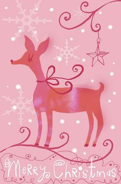 Pink deer Christmas greetings