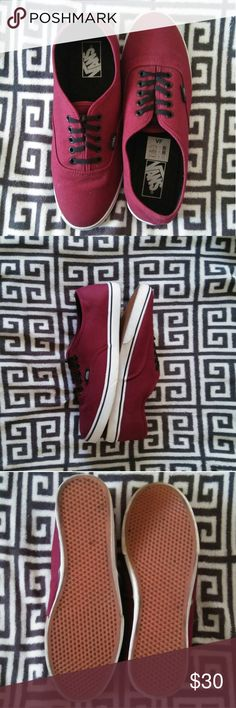 Burgundy Low Top Vans Gently used low top Vans. *Pictures may not represent true color of shoes, they are much darker* There is slight creasing on the toes and heels as shown above, also the tips of the bottoms are slightly worn in as shown. **Men's size 8. Only worn twice. Vans Shoes Sneakers