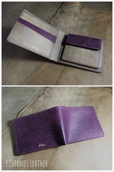 Tan Leather, Leather Wallet, Duo Tone, Name Card Holder, Wallet With Coin Pocket, Man Purse, Billfold Wallet, Secondary Color, Vegetable Tanned Leather